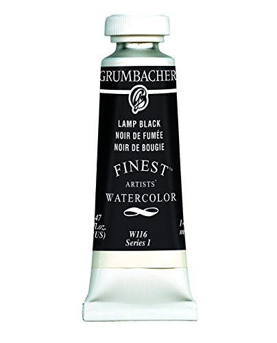 Grumbacher Finest Watercolor Paint, 14 ml/0.47 oz, Lamp Black