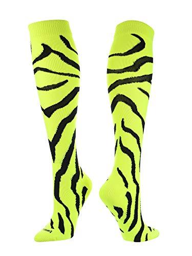TCK Sports Krazisox Zebra Stripe Socks (Neon Yellow/Black, Medium)