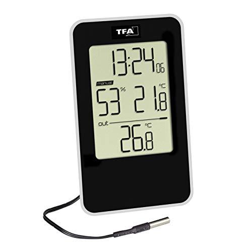 TFA Dostmann Digitales Thermo-Hygrometer, 30.5048.01, mit Uhrzeit, für innen und außen, mit wasserdichtem Kabelfühler, schwarz, L103 x B30 x H165 mm