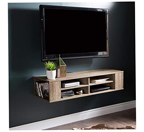 Wood & Style Home Wall Mounted Media Audio/Video Console, Weathered Oak Office Décor Studio Living Heavy Duty Commercial Bar Café Restaurant