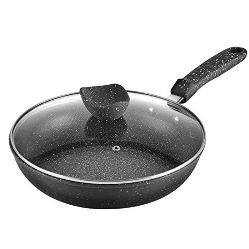Yongyu Chenzinan Eiserne Reisstein Bratpfanne mit Deckel mit Silikon Hot Griffhalter 28CM No Smoke Flachboden Bratpfanne (Color : Black)