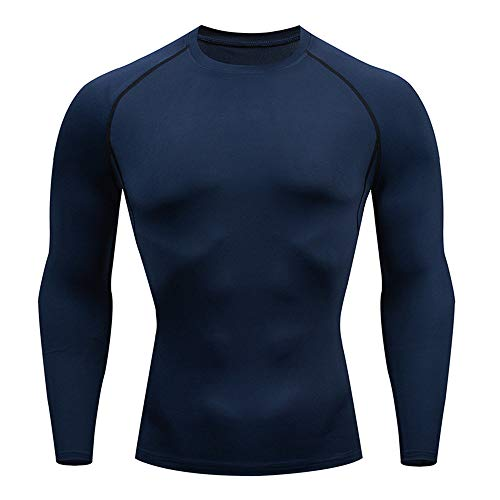 NLZQ Men Compression Functional Top Running Men Sports Top Gym Training Running Tracksuits Quick Dry Jogging Top, Pure Color Slim 2020 New Sports Top M Blue