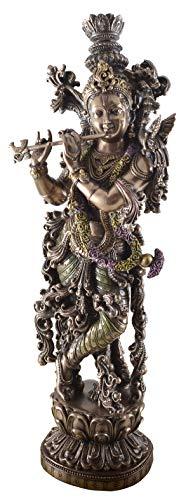 Veronese Figur Inidischer Gott Krishna Flöte spielend bronziert 38 cm Skulptur Hinuismus Indien