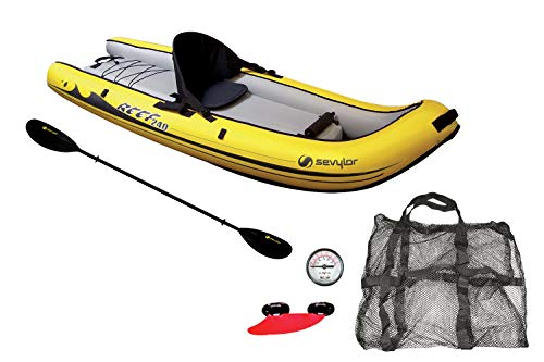 Sevylor Kayak Gonflable Reef 240, Kayak Sit-on-top, Canoë 1 Personne, 236 x 86 cm + Sevylor Pagaie...