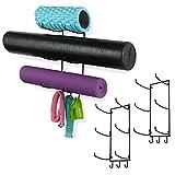 Wallniture Guru Yoga Mat Storage Rack Set of 3, Foam Roller and Yoga Mat Holder with Hooks for Hanging Yoga Strap, Resistance Bands, Black Metal