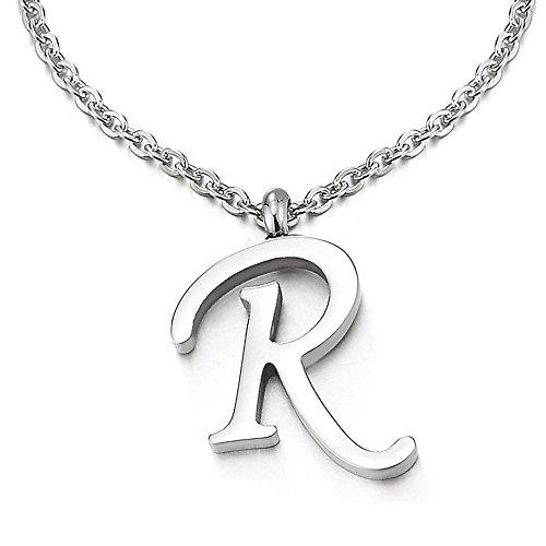 COOLSTEELANDBEYOND Name Initiale Alphabet Buchstaben A bis Z Anhänger Edelstah Halskette für Damen Herren mit 50cm Stahl Seil-Kette - R