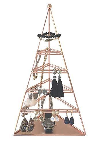 Porte bijoux présentoir de boucles d'oreilles - bracelets -des colliers blanc - or rose Galeara design (Or rose)