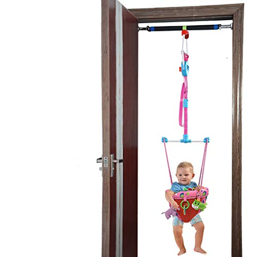 Baby Door Jumper Baby Doorway Jumper with A Crossbar, Baby Doorway Bounce Jump Walk Exerciser Indoor Outdoor for Toddler Kids Children's Toy,Door Jumper and Crossbar, Pink
