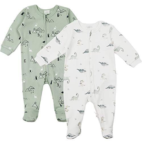 Baby Langarm Schlafstrampler 2er Pack - Strampler Jumpsuit Jungen Mädchen Spieler Baumwolle Schlafanzug für Neugeborene 0 Monate