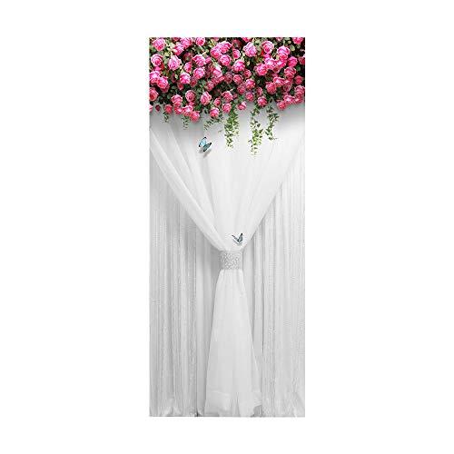 YQZYMT Porta interna poster Applique Adesivo per porte 3D murale Stanza di nozze della tenda di garza bianca rosa dei fiori rosa 88X200CM FAI DA TE Auto adesivo Adesivi murale Per Porte Decalcomanie