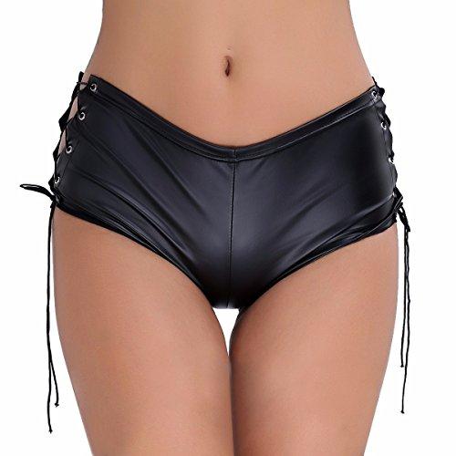 Freebily Pantalones Cortos de Charol Culottes para Mujer Short Bikini Femenino Lencería Danza Deportes Negro M (Ropa)