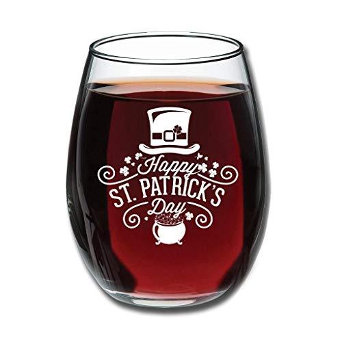 Twelve constellations Copas de vino tinto – Feliz día de San Patricio, vaso de leche tallado de Stemless especial decoración blanco 350 ml