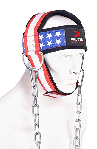 DMoose Fitness Neck Harness for Weight Lifting, Resistance Training, or Injury Recovery with Long Steel Chain, Improve Muscle Strength (American, with Support Strap)