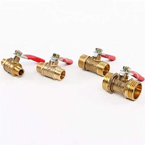 cjcaijun Válvula La válvula neumática 1/8'1/4 '' 3/8 '' 1/2 '' El Conector de latón de Doble Rosca Externo es Adecuado para Agua, válvula de Bola de compresor de Aire (Specification : 1/2')