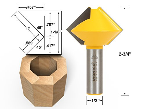 Yonico 15138 Bird's Mouth Glue Joint Router Bit with 8 Sided 1/2-Inch Shank