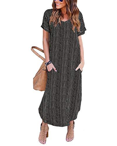 YOINS - Vestido largo amplio de verano para mujer, para playa, vestido sexy, manga corta, cuello redondo, vestido de punto con cinturón Negro -03. XL