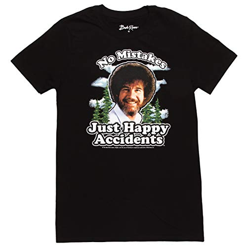 Bob Ross No Mistakes, Just Happy Accidents Adult T-Shirt - Black (XX-Large)