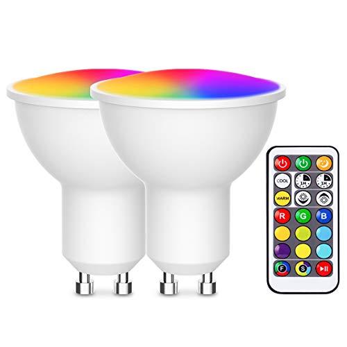 Bombilla LED Colores, Techgomade Bombilla LED GU10, 3W (Sustituye a 20W), 200LM, Bombilla LED para la Decoración del Hogar y la Fiesta, Paquete de 2