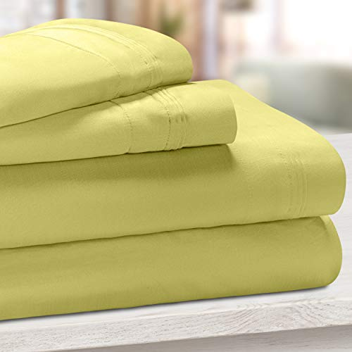 SUPERIOR Brisrose Premium 650-Thread Count Egyptian Cotton Solid Deep Pocket Sheet Set, King, Olive Green