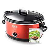 [NEW LAUNCH] KOOC 7-Quart Portable Slow Cooker with Lid Lock, Larger than 6 Quart, Free Liners Included for Easy Clean-up, Upgraded crock pot, Adjustable Temp, Nutrient Loss Reduction, Red, Oval…