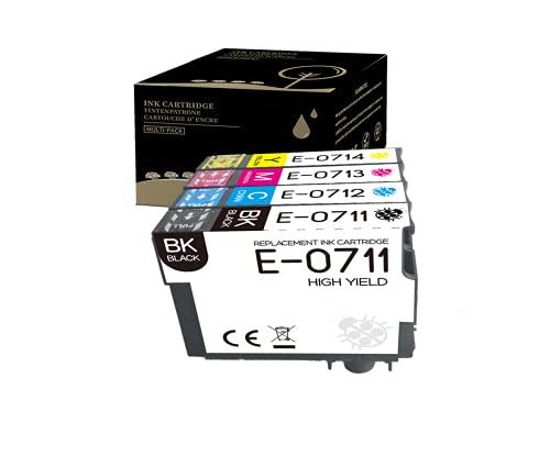 Amla Paquete de 4 Cartucho Compatible con T071 Cartucho T0715 Cartucho Epson T0711 T0712 T0713 T0714 Cartucho Repuesto para Stylus SX105 SX205 SX218 S20 SX415 D78 D92 BX300F BX610FW B40W y más
