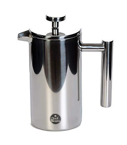 VietBeans French Press – Doppelwandiger Thermo-isolierter Kaffeebereiter Teebereiter - Polierter Edelstahl - Pressstempelkanne mit edler Optik – 350 ml