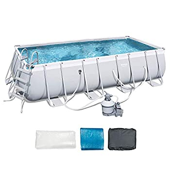 Bestway 18  x 9  x 4  Power Steel Frame Above Ground Rectangular Swimming Pool Set with 1000 GPH Sand Filter Pump Pool Cover and Ladder