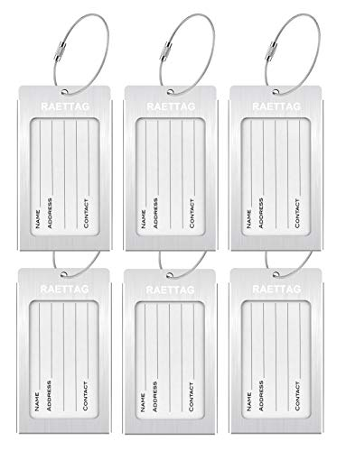 Luggage Tags, LLFSD RAETTAG Metal Suitcase Tags Travel Bag ID Identifier Luggage Tag (Silver 6-Pack)