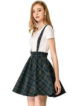 Allegra K Women s Plaid Pleated Mini Tartan Overall Skater Suspender Skirt Small Blue Green