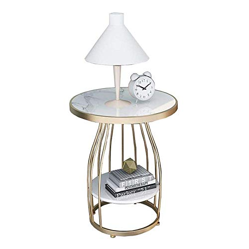 LYYJIAJU Small Coffee Tables Living Room Marble/Gold Modern Round Coffee Table Living Room, Iron Paint Craft Small Round Table Simple Bedside Cabinet Balcony Coffee Table, Marble Sofa Corner Table