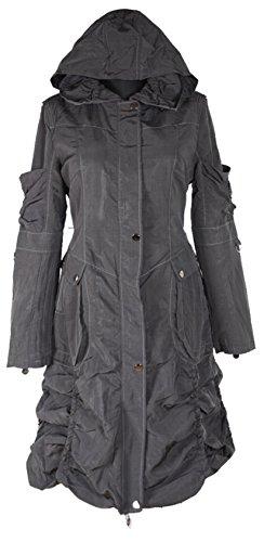 Grisodonna.Style Damen Lagenlook Kapuze Übergangsmantel Mantel warm gefüttert Trench Coat 40 42 44 46 48 50 M L XL XXL 2XL Anthrazit Grau Jacke Winter (46)