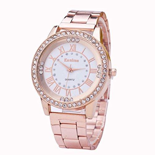 FAMILIZO Mujeres Hombres Elegante Moda De Cristal Rhinestone De Acero Inoxidable Reloj De Cuarzo Analógico De Cuarzo (Oro rosa)