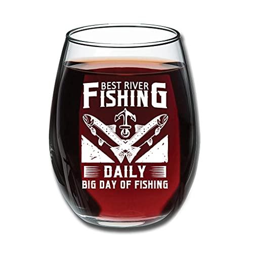 Relaxident Copas de vino tinto – mejor río Pesca diario gran día de pesca premium grabado fruta vidrio buena mano novedad decoración blanco 350ml