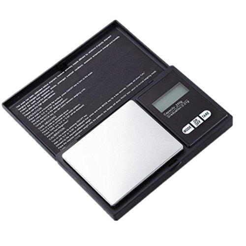 Zarupeng Bilancia digitale tascabile Bilancia elettronica Bilancia da cucina Bilancia di precisione per gioielli Gold grammi Balance Bilancia, 200g * 0.01g, Display LCD, Nero, taglia unica