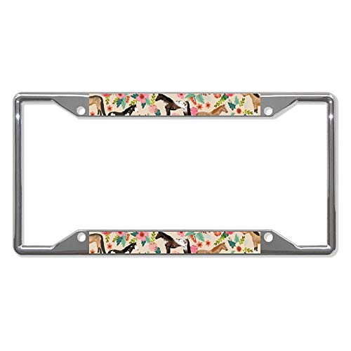 liuKen Horses Floral Breeds Farm Pets License Plate Frame Chrome 4 Holes,License Plate Cover Auto Tag Holder Funny,for Women and Men