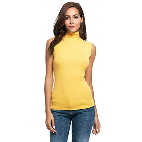 COZOCO Damen Ärmelloses Sweatshirt für Damen Slim Fit Rollkragen T-Shirt Top Bluse Pullover