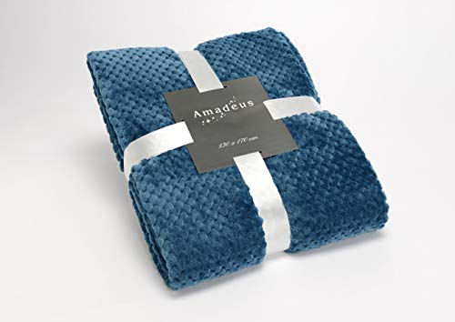 Plaid bleu nuit, collection Damier, 130x170 cm, Amadeus