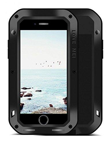 FONREST iPhone 8 Plus Funda, 5.5-Pulgada Love Mei Antichoque Al Aire Libre Tarea Pesada Híbrido Aluminio Metal Armadura Antipolvo Carcasas con Vidrio Templado (Negro)
