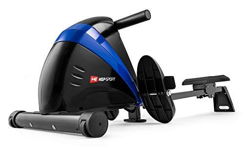 Hop-Sport Rameur HS-030R Boost Machine à Ramer Pliable équipée de l'ordinateur (Bleu/Noir)