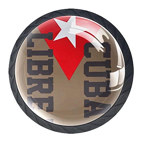 Manopole per armadietti,maniglie percassetti,Cuba Libre 4 maniglie per cassettiere per porte,comò Cristallo nero il giro
