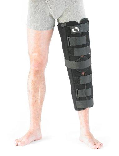 Inmovilizador de rodilla NEO G – grande – negro – Calidad de grado médico, tejido ligero HELPS post inmovilización, rehabilitación, senderismo asistido, cepas, esguinces e inestabilidad – Unisex
