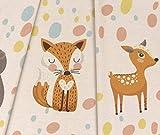 Panel Jersey Little Forest Animals - sand meliert
