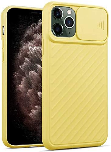 Oihxse Funda Silicona Compatible con iPhone 12 Pro MAX 6.7 con Tapa Deslizante Protección Cámara Cáscara Silicona Líquida Suave TPU Bumper Ultra Delgada Antigolpes Anti-rasguños Case Cover,Amarillo