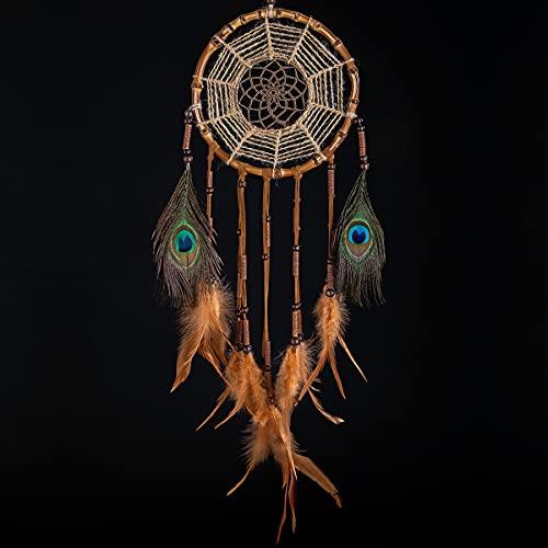 Prince Boho® Bambus Traumfänger Gross, Handgemachter Premium Dreamcatcher, Indianer Deko für Groß und Klein, Hippie Deko, Bambus Deko, Kinder und Erwachsene, Durchmesser 18 cm