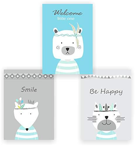 greenluup 3er Set Kinderposter Poster Tiere Indianer Waldtiere Bär Blau Hellblau Wandbild Kinderzimmer Babyzimmer Kinder Baby Mädchen Junge Wanddeko