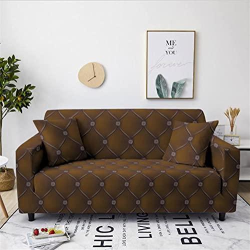 Patrón de mármol marrón Funda de sofá de 4 Plazas Funda Elástica para Sofá Poliéster Suave Sofá Funda sofá Antideslizante Protector Cubierta de Muebles Elástica