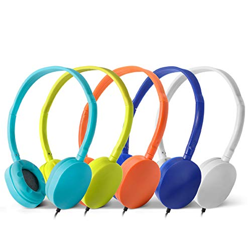 Wholesale Bulk Headphone Earphone Earbud - Kaysent(KHP0-10Mixed) 10 Pack Wholesale Mixed Colors(Each 2 Pack) Headphone for School, Classroom, Airplane, Hospiital, Students,Kids and Adults