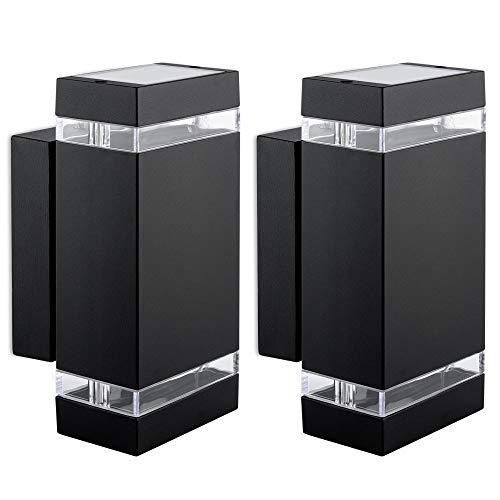 2 Stück LED Wandlampe Up & Down 230V - Außen Wandleuchte IP44 inkl. 4x LED 5W GU10 neutralweiß - Wandaussenleuchte schwarz
