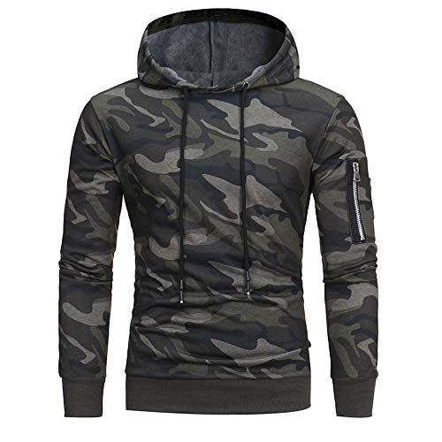 Ericcay Hoodie Sweatshirt for Mens Men Autumn Long Sleeve Winter Stylish Unique Camouflage Hooded Pullover Tops Jacket Coat Outwear (Color : Tarnung, One Size : XXL)