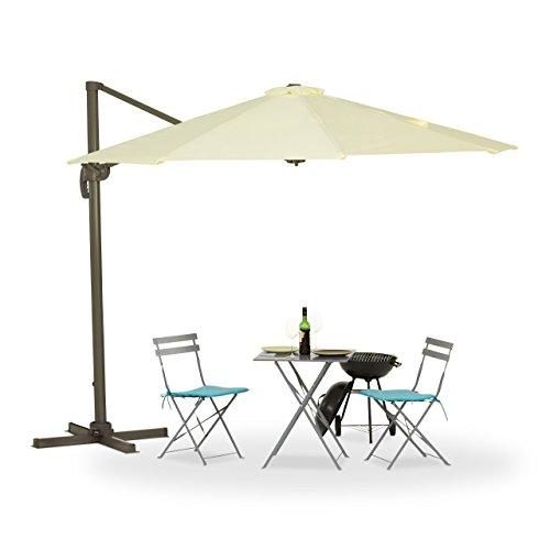 Relaxdays, beige Ampelschirm, Kurbel, Kreuzständer, UV-beständig, wasserfest, 360° drehbar, Polyester-Bespannung, 3m Ø